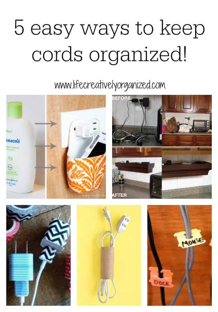 5 easy ways to keep cords organized life creatively organized. Black Bedroom Furniture Sets. Home Design Ideas